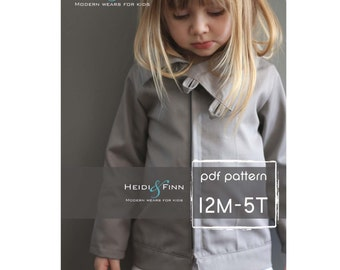 Urban Weekender Coat pattern and tutorial 12M - 5T PDF pattern boy girl modern zipper jacket cowl