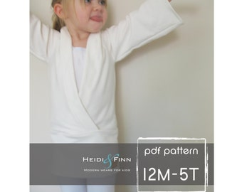 Urban Kimono Sweater pattern and tutorial 12m - 5t PDF EASY Sew wrap top tunic