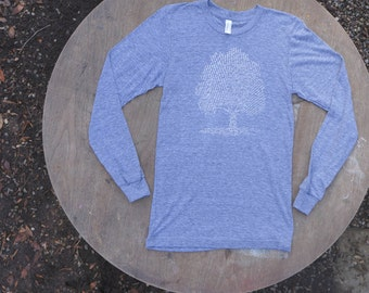 Tree T-Shirt  List of Tree Species Nature T-Shirt Long Sleeve American Apparel Unisex Tee in heather Grey