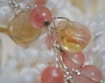 Cherry Quartz, Lemon Quartz & Chalcedony briolette necklace. Sterling silver, handmade, wire wrapped, gemstone, drop necklace, unique.