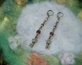 Key Earrings with Beaded Links in Shades of Purple