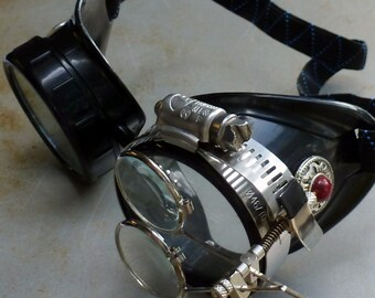 Steampunk Goggles Airship Captain Apocalyptic Mad Scientist Victorian Limited SSS-red