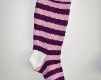 S5 Striped Christmas Stocking - Pink & Plum