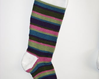 S17 Striped Christmas Stocking - Antiques (rose, olive, sage, blue)