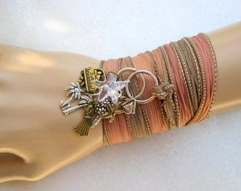 Beach Wedding Charm Bracelet Necklace Anklet - Bronze Bouquet Just Married Dress Palm Trees Starfish Engagement Silk Ribbon Yoga Wrap
