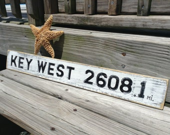 Beach Sign Key West Custom Vintage Style Choose your Mileage