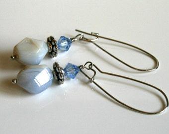 Blue stone earrings, long dangle earrings, chalcedony crystal