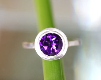 African Deep Purple Amethyst Sterling Silver Ring, Gemstone RIng, In No Nickel / Nickel Free - Made To Order