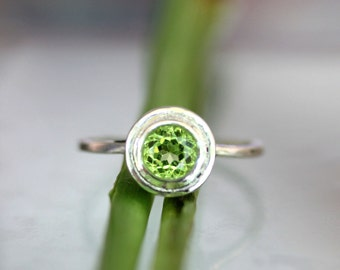 Peridot Sterling Silver Ring, Gemstone Ring, Halo Ring In No Nickel / Nickel Free - Made To Order