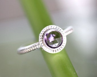 Rose Cut Purple Amethyst Sterling Silver Ring, Granulated Ring,  Gemstone Ring, In No Nickel / Nickel Free - Made To Order