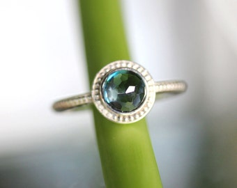 Rose Cut London Blue Topaz Sterling RIng, Gemstone Ring, In No Nickel / Nickel Free Granulated Ring - Made To Order