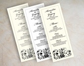 Wedding reception menu, wedding menu cards, printable wedding menu, diy wedding menu, charcoal gray, black and white, Courtney