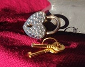 Large Heart-shaped Rhinestone covered Gold-Colored  Working Padlock