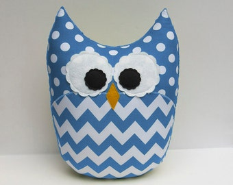 Large Chevron Owl Pillow Minky Sky Blue Nursery Decor Ready to Ship