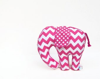 Chevron Polka Dot Stuffed Elephant Plush Hot Pink Fuchsia Plush Animal Minky
