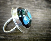 Unique statement ring - lampwork glass bead set in sterling silver. Size 4.5