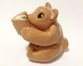 Reading Bear Sculpture, Hand-Built Ceramic Bear Figurine