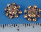 Vintage Lot 4 Rhinestone Buttons Light Orange