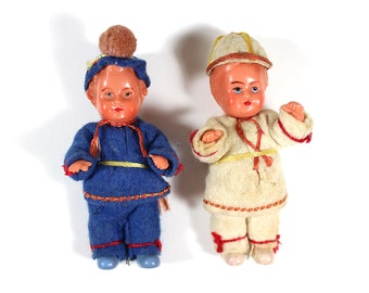 Set of Two Miniature German Dolls
