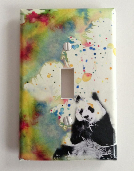 Panda bear decorative light switch cover great kids by for Panda bear decor