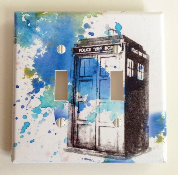 Doctor who tardis decorative double light switch plate cover for Tardis light switch cover