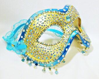 Masquerade Ball Mask - Blue and Gold - Rhinestone Mask - Venetian Mask - Paper Mache - Radiance