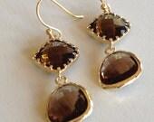 Espresso Drops (handmade beaded earrings)