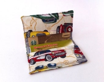 Credit Card Holder Business Card Holder Slim Mini Wallet Classic Cars Cotton Print by Treadle Lady