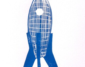 Rocket ship linoleum block print - cobalt blue linocut - letterpress 8x10