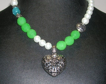 Sale- Spring's Promise-  Necklace with glass pearls and chunky light green glass beads