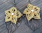 Golden Shimmer - French Beaded Flower Earrings