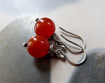 Carnelian Sterling silver earrings, wire wrapped earrings, natural jewelry, dangle earrings