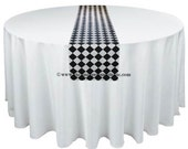 Black and White Table Runner Diamond Black Wedding Table Centerpiece Black Linens Modern Classic Party Decor