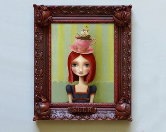 Oil painting print Nautical ship framed 8x10  big eye girl wall sculpture Alice in wonderland frame framed painting- by Marisol Spoon
