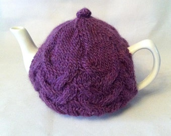 Made to Order - Cocoon Cable Tea Cosy - A warm and snuggly sweater for your teapot - recycled, reclaimed wool - Your choice of color