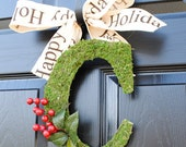 Christmas Wreath-Monogram Wreath, Christmas Moss Initial, xmas wreath, Christmas wreaths for door, Winter wreath