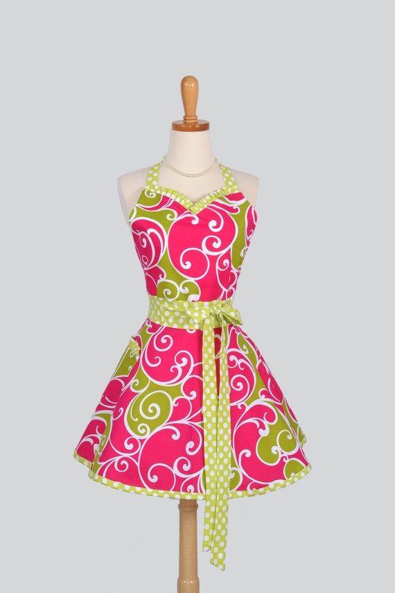Sweetheart Retro Apron , Sexy Womens Apron in Fuchisa Lime Green White Swirls and Dots Michael Millers Surf Collection