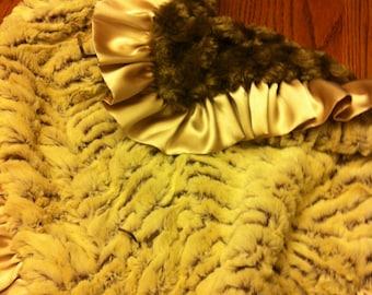 "Blanket 21""x21"" Brown And Beige minky"