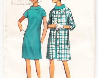 Vintage 1967 Butterick 4353 UNCUT Sewing Pattern Misses' Dress Coat Size 12 Bust 32