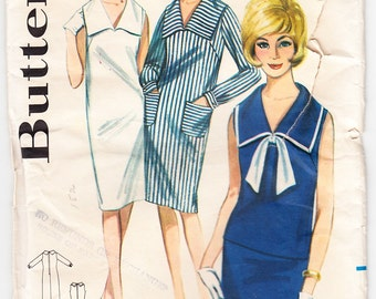 Vintage 1964 Butterick 3102 Sewing Pattern Misses' One or Two Piece Dress Size 12 Bust 32