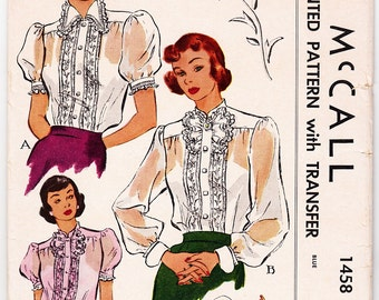 Vintage 1949 McCall 1458 UNCUT Sewing Pattern Misses' Blouse Size 14 Bust 32