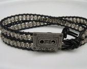 Black Diamond Beaded Leather Wrap Bracelet with Cassette Tape Button