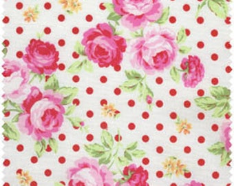 Flower Sugar 2013 Cotton Fabric by Lecien 30747-30 Pink Roses Red Dots on Cream