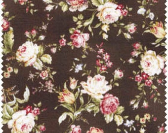 Mary Rose Amelia  Cotton Fabric Quilt Gate MR2170-15F Brown Rose