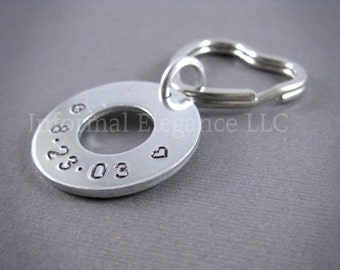 Heart Keychain with 2 hearts and custom date, Gifts for Men or Women, Jewelry by Informal Elegance on Etsy