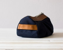 Cosmetic bag, makeup case in blue canvas and light Brown leather - Estia Bag
