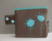 COIN purse taupe brown canvas with teal turquoise flower embroidery and lace