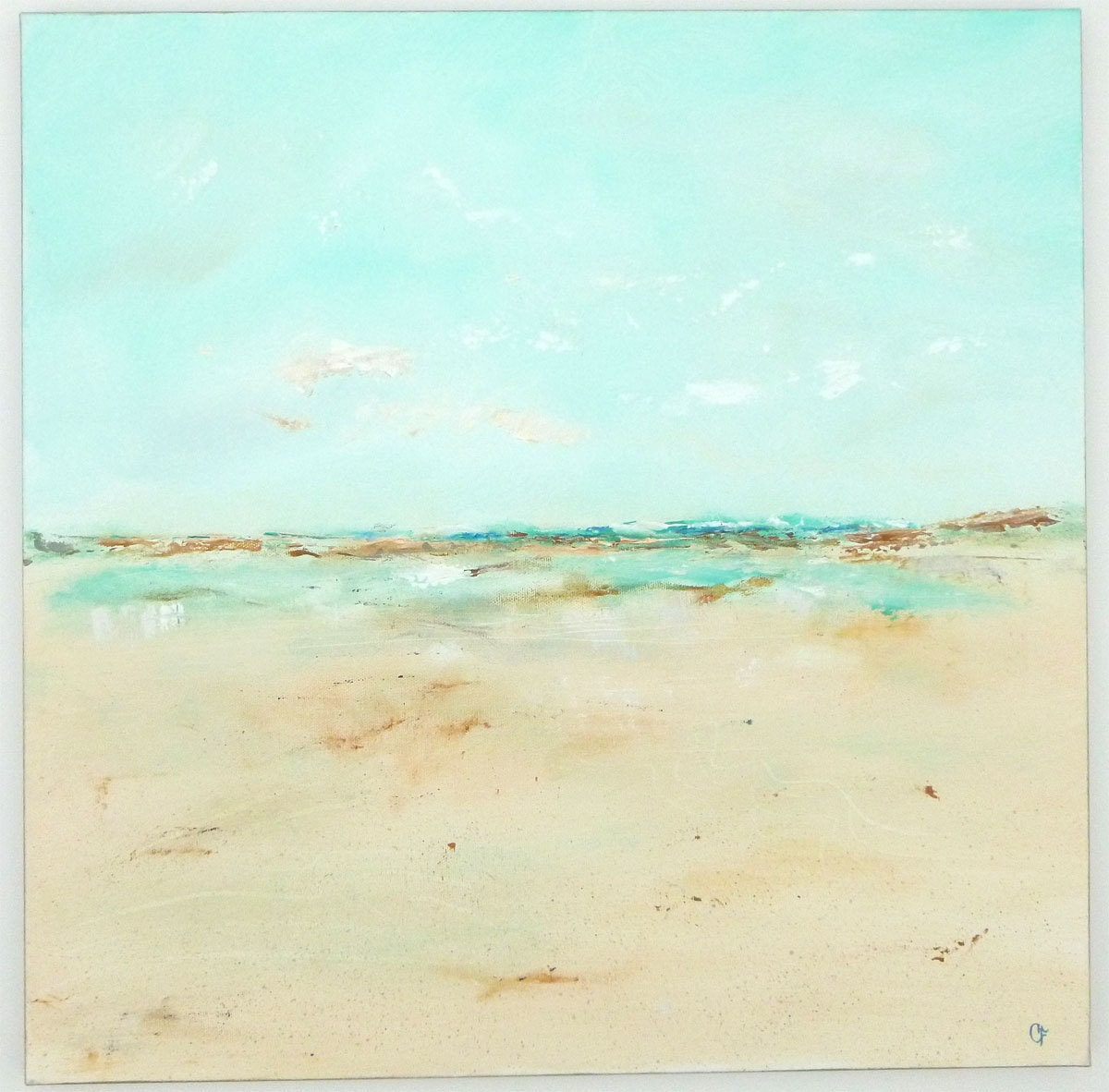 Complimentary Color To Pink Abstract Beach Painting Aqua Turquoise Beach Original