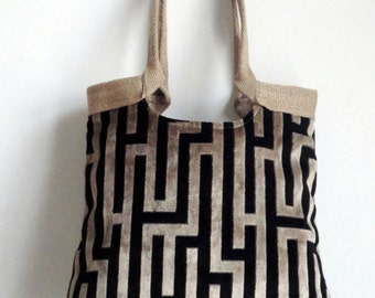 Geometric tapestry tote bag with burlap