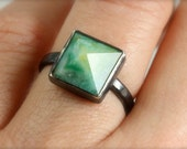 Pyramid Cut Peruvian Blue Opal Ring- Sterling silver, oxidized
